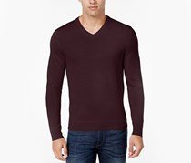 Club Room Men's V-neck Wool Blends Sweater, Plum Red