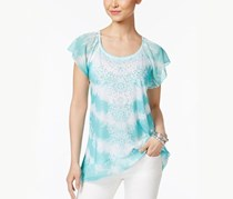 Style & Co Tie-Dyed Studded Top, Aqua
