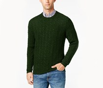 Club Room Men's Big and Tall Cable-Knit Cashmere Sweater, Dark Forest