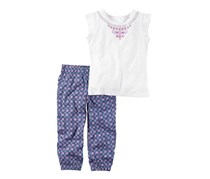 Carter's 2-Piece Printed Tee And Geo Printed Joggers Set, White/Blue