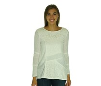 Style & Co. Petite Lace Front Rib Knit Top, White