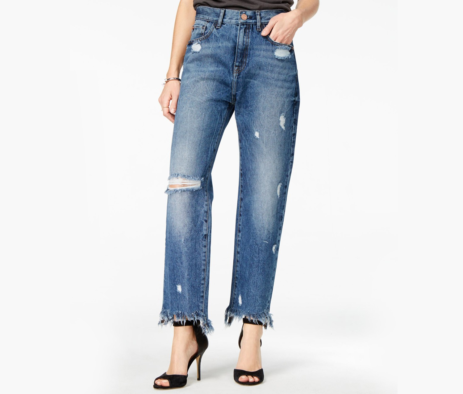 M1858 Frida Ripped Bergan Wash Wide Jeans, Bergan