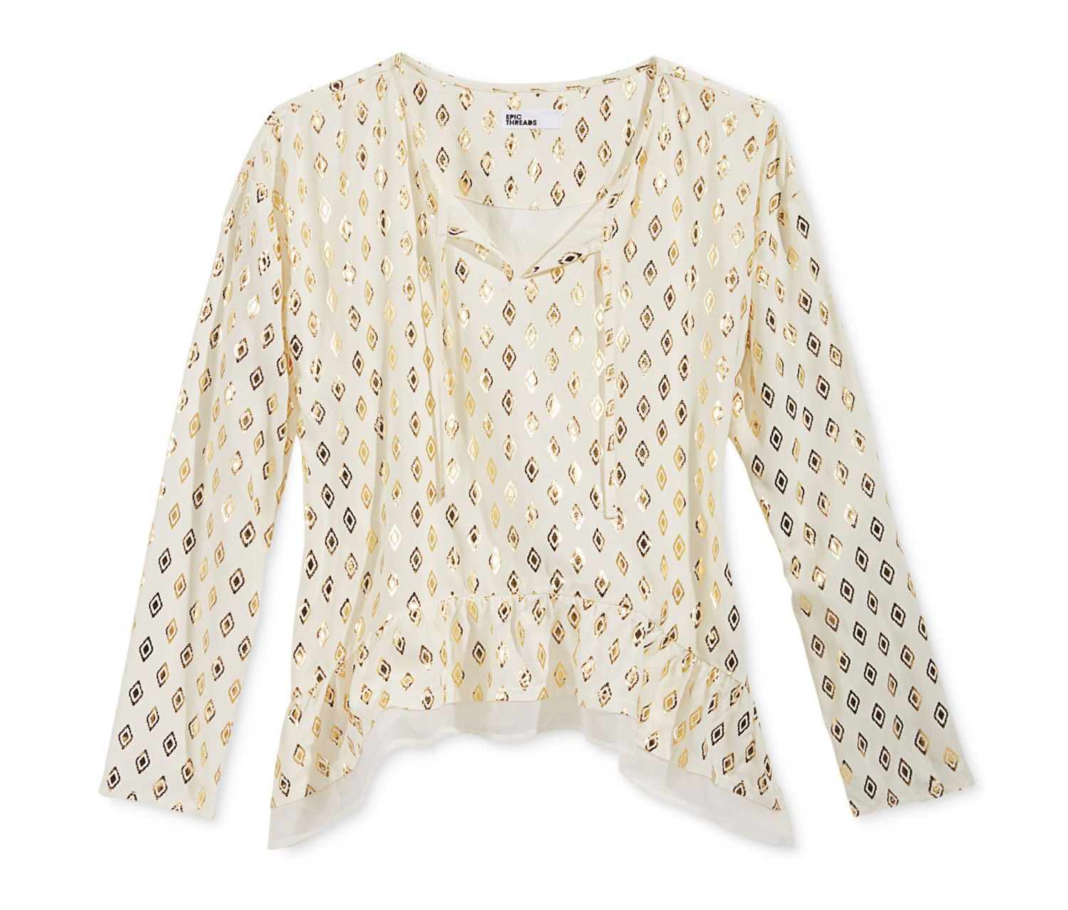 Epic Threads Girls Metallic-Print Top, Holiday Ivory