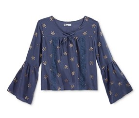 Epic Threads Girls' Metallic-Print Peasant Top, Crown Blue