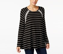 Style Co Striped Crochet-Trim Sweater, Black Stripe