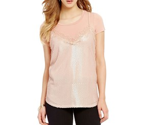 Living Doll Two-Fer Sequin Lace Cami and Tee Top, Rose Gold