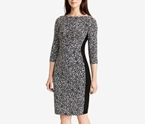 Ralph Lauren Printed Jersey Sheath Dress, Black/Cream