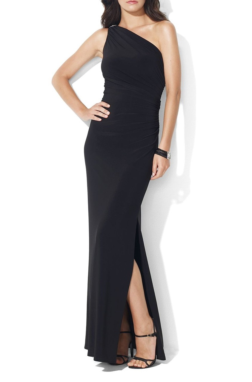 f655d1dc44 Shop Ralph Lauren Ralph Lauren One-Shoulder Brooch Gown, Black for ...