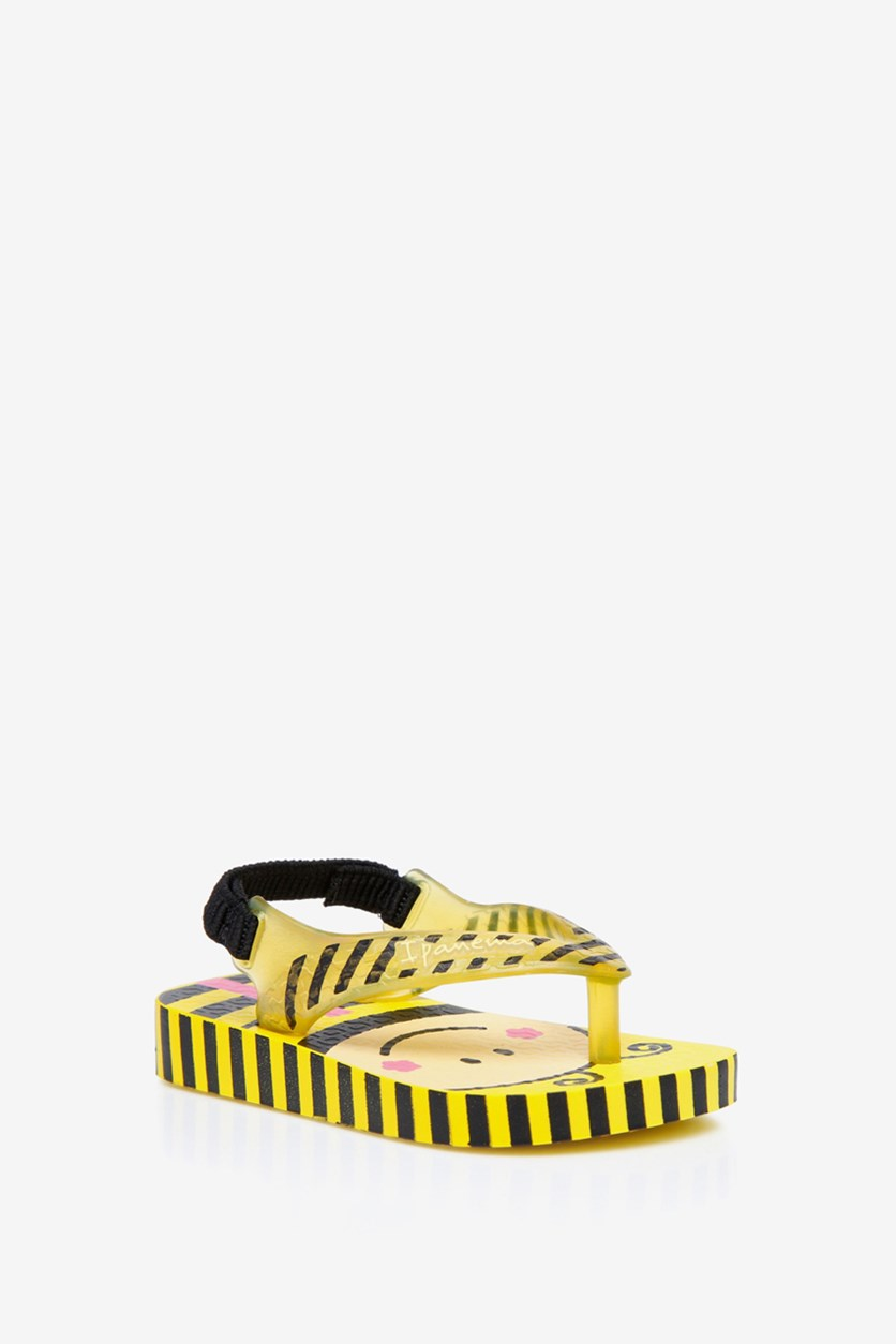 Toddlers Ipanema Bee Print Slippers, Yellow/Black