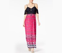 Juniors' Off-The-Shoulder Open-Back Maxi Dress, Navy/Fuchsia