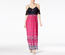 Trixxi Juniors' Off-The-Shoulder Open-Back Maxi Dress, Fuschia/Navy