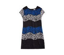 Sally Miller Girls' Colorblocked Lace Dress, Black/Navy