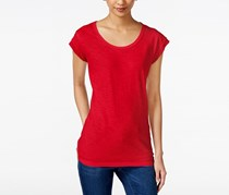 Style & Co Cap-Sleeve Scoop-Neck Top, New Red Amore