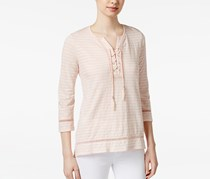 Style Co. Striped Lace-Up Top, Crushed Petal Stripe