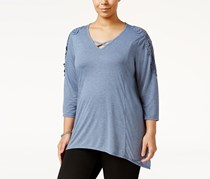 Style & Co. Plus Size Crocheted Top, New Uniform Blue