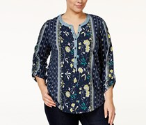 Style & Co. Plus Size Mixed-Print Top, End Scarf Blue