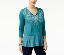 Style & Co Petite Embroidered Top, Delilah Green