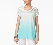 Style & Co Petite Lace Dip-Dye Top, Aqua Brook