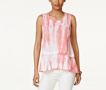 Style & Co Cotton Tie-Dyed Flounce-Hem Top, Coral Bliss Dye