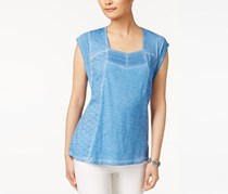 Style & Co Lace Eyelet-Embroidered Shirt, Blue Dew