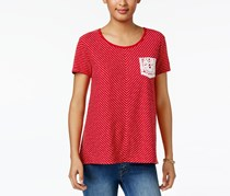 Style & Co Striped Crochet-Pocket Top, Red Stripe