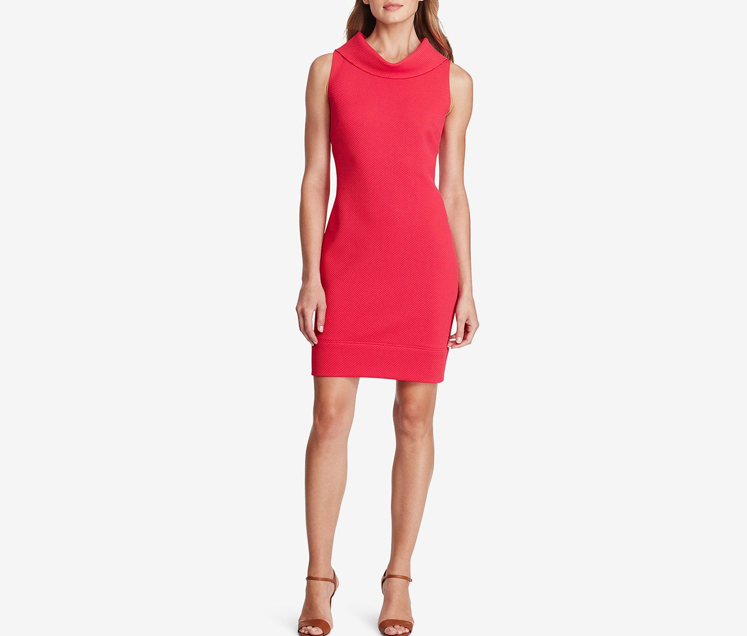 American Living Cowl Neckline Sleeveless Sheath Dress, Rose Coral
