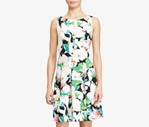 American Living Floral-Print Neoprene Dress, White/Green