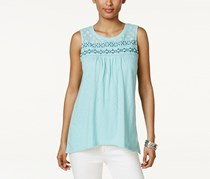 Style & Co Petite Embroidered Top, Beach Day Aqua