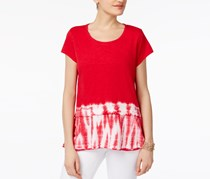 Style & Co Cotton Peplum Top, New Red Dye