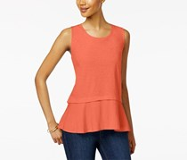 Style & Co Women's Cotton Peplum-Hem Top, Coral Bliss
