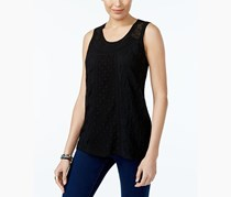 Style & Co Lace Embroidered Top, Black