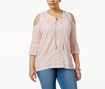 Plus Size Cold-Shoulder Peasant Top, Lily Shine