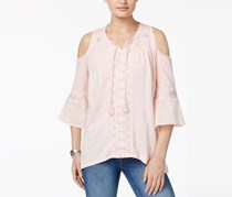 Style & Co Embroidered Cold-Shoulder Top, Sea Lily Shine