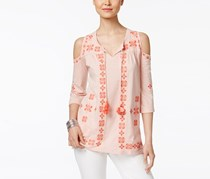 Style & Co Petite Embroidered Cold-Shoulder Peasant Top, Summer Shine Coral