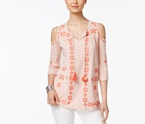 Style & Co Embroidered Cold-Shoulder Top,  Summer Shine Coral