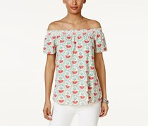 Style & Co Off-The-Shoulder Printed Top,  Melon Mania