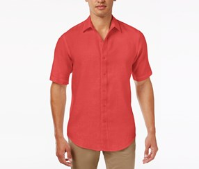 Club Room Mens Garment-Dyed Linen Shirt, Lipstick Coral
