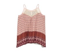 Xhilaration Printed Sleep Top, Peach/Heather Grey