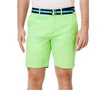 Club Room Men's Belted Slim-Fit Stretch Shorts, Fresh Pistachio