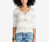 Ralph Lauren Lace Henley Top, Antique Cream
