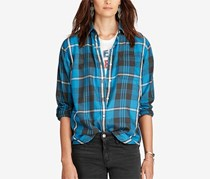 Denim Supply Ralph Lauren Boyfriend Plaid Shirt, Blue/Black