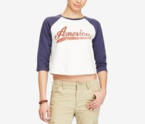 Ralph Lauren Denim & Supply Cotton Graphic Sweatshirt, White/Navy