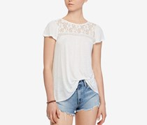 Denim Supply Ralph Lauren Lace-Up Jersey Top, Cream