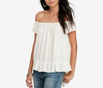 Ralph Lauren Crepe Off-The-Shoulder Top, Antique Cream