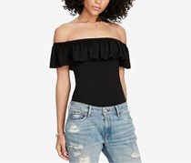 Ralph Lauren Ruffled Off-The-Shoulder Bodysuit,  Black