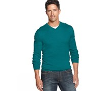 Mens V-neck Wool Pullover Sweater,Blue Turquoise