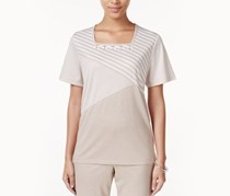 Alfred Dunner Mixed-Print Beaded Top, Fawn