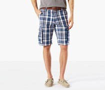 Dockers Mens Flat Front Plaid Cargo Shorts, Blue