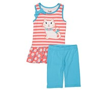 Nannette Girls Pullover Cat Print And Knit Short Set, Red/Turquoise