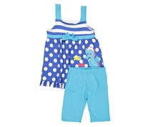 Todllers  Girls Polka Dots Embroidery Dress Set, Blue